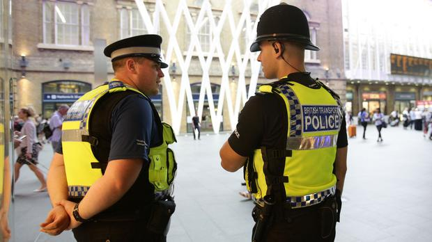British Transport Police at King's Cross station, London, after a 63-year-old man received cuts to his body and face at Finsbury Park Tube station