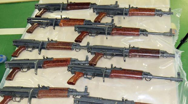 BEST QUALITY AVAILABLEUndated handout photo issued by the National Crime Agency (NCA) of automatic assault rifles seized during a raid in Kent, as six men and a woman will appear before magistrates following an investigation into the suspected importation of firearms.