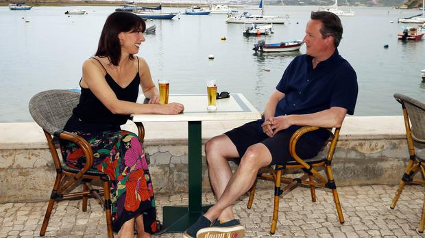 David and Samantha Cameron on holiday in Portugal