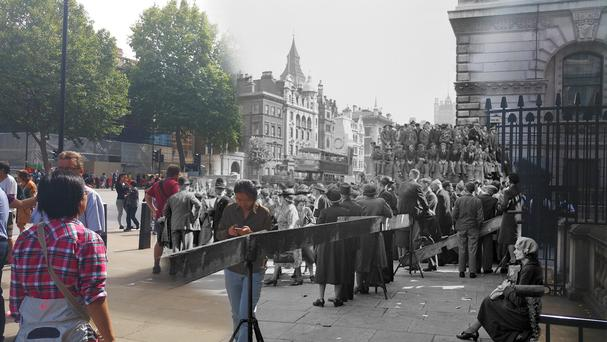 A composite image of people awaiting news on what was to become VJ Day outside Downing Street, London, and the street in the present day (MoD/PA)