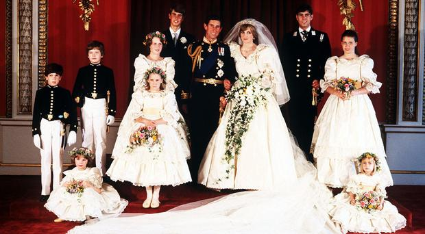 Sarah-Jane Gaselee (4th left, front) regrets selling the dress she wore as bridesmaid at the wedding of the Prince and Princess of Wales