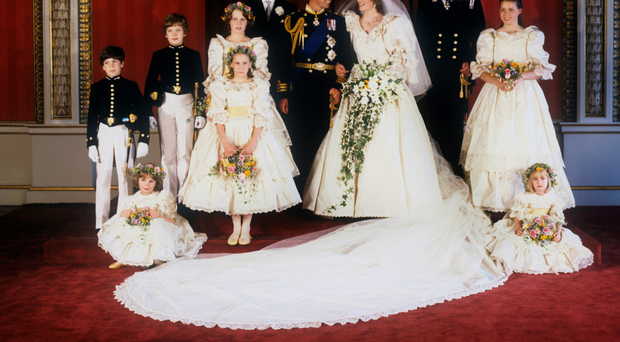 Sarah-Jane Gaselee (standing front left) at the wedding of Charles and Diana