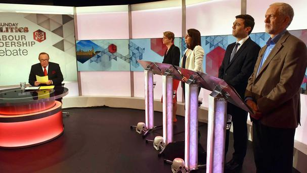 Labour leadership contenders, from left, Yvette Cooper, Liz Kendall, Andy Burnham and Jeremy Corbyn during a debate on BBC1's Sunday Politics