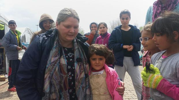 Rachel Miller on an earlier visit to a refugee camp in Turkey