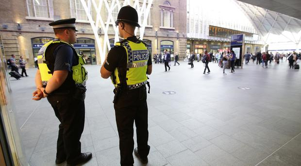British Transport Police at King's Cross station, London