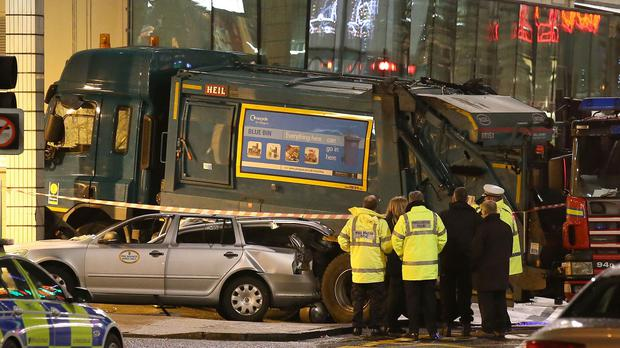 The bin lorry being driven by council worker Harry Clarke crashed in Glasgow's George Square last December, killing six people