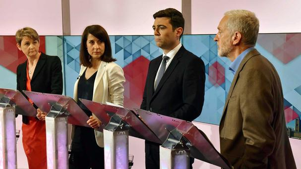 Labour leadership contenders Yvette Cooper, Liz Kendall, Andy Burnham and Jeremy Corbyn during a debate on BBC1's Sunday Politics
