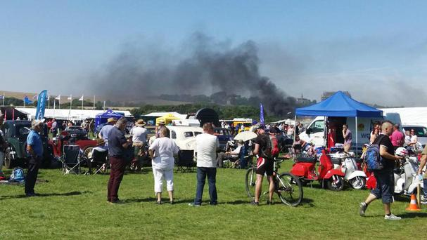 Smoke following a crash involving a plane near Shoreham Airshow in West Sussex. (from the Twitter feed of @Cromwell606)
