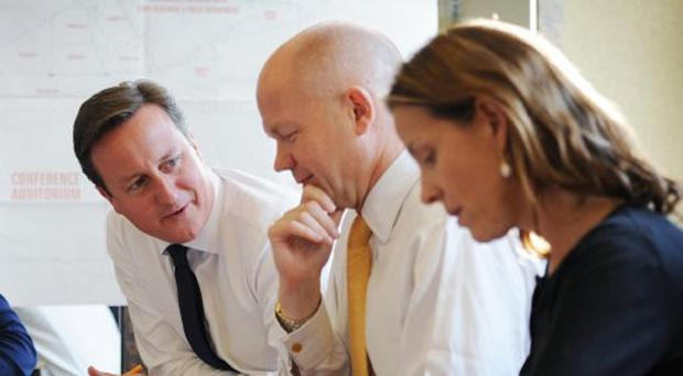 David Cameron with two of his new Tory peers, former minister William Hague and aide Kate Fall.