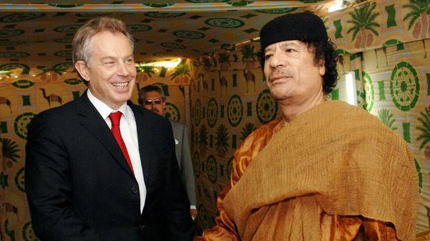 Prime Minister Tony Blair was allegedly part of an effort to save Muammar Gaddafi during the 2011 military intervention