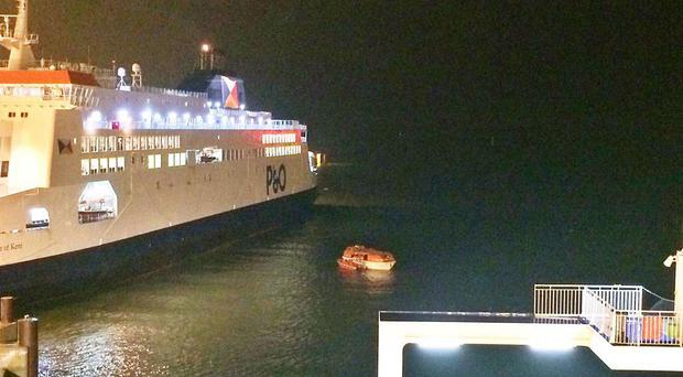 A lifeboat is involved in a blockade at the Port of Calais (James Gritt/Twitter/PA)