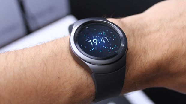 The Samsung Gear S2 smartwatch has a round face and is enabled for contactless payments