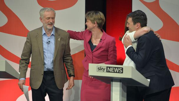 Labour leadership contenders (left - right) Jeremy Corbyn, Yvette Cooper, Liz Kendall (partially obscured) and Andy Burnham after a live debate