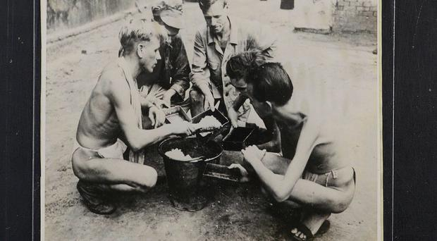 Prisoners of war in Rangoon Prison. Picture: The National Archives
