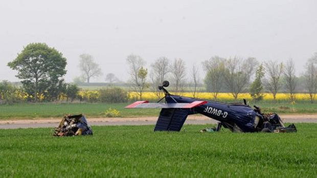 The light aircraft that crashed at Hinton-in-the-Hedges airfield injuring Nigel Farage and the pilot.