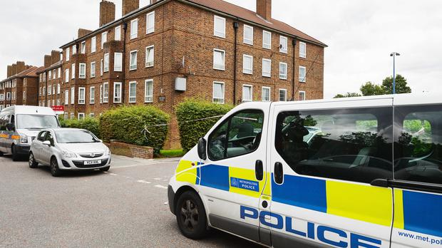 A Police van is parked outside Spalding House in Brockley, south-east London, where a 17-year-old was fatally stabbed