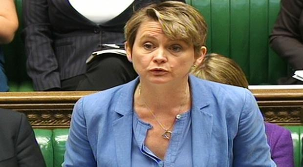 Shadow home secretary Yvette Cooper speaks during an emergency debate on the migrant crisis in the House of Commons in London