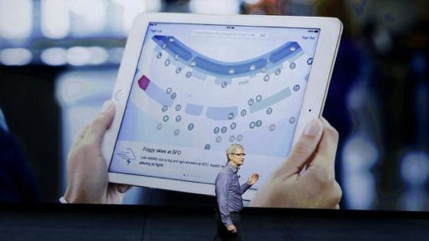 Apple CEO Tim Cook discusses the new iPad during the Apple event in San Francisco (AP)