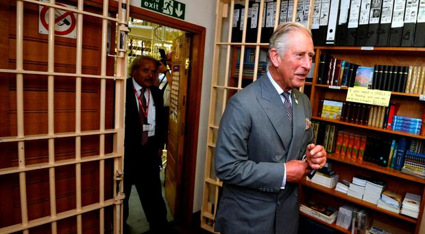 Visit: Prince at prison yesterday