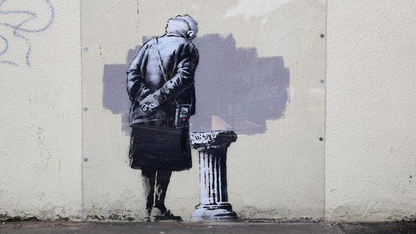 The mural called Art Buff created by street artist Banksy appeared in Folkestone, Kent