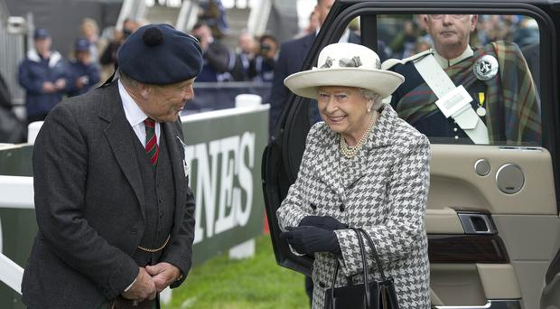 The Queen is greeted by Brigadier Melville S Jameson CBE, the Lord Lieutenant of Perth and Kinross, as she arrives at the Longines FEI European Eventing Championship at Blair Castle, Perthshire