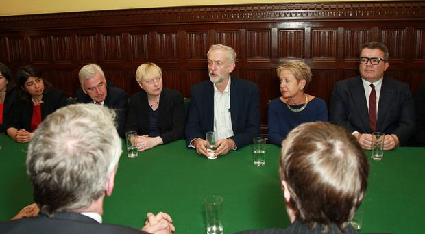 New Labour party leader Jeremy Corbyn chairs his first shadow cabinet meeting in the House of Commons