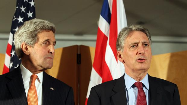 US Secretary of State John Kerry (left) and Foreign Secretary Philip Hammond will hold talks in London
