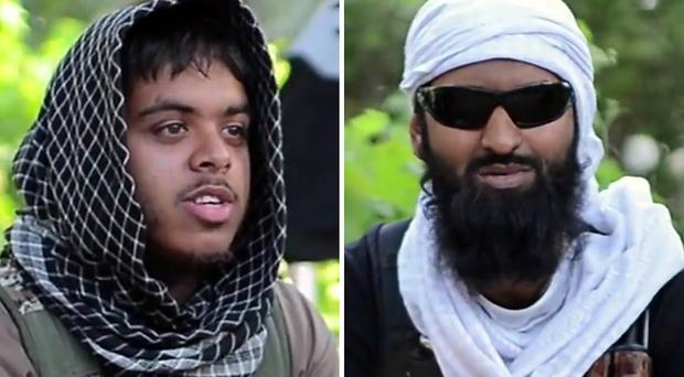 Screengrabs taken from a militant video posted on YouTube of Reyaad Khan, left, and Ruhul Amin