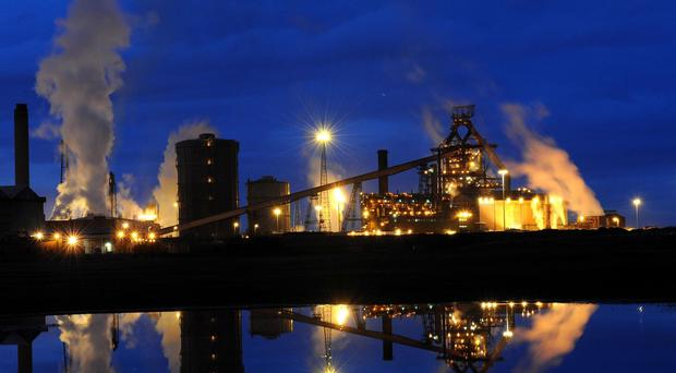 The SSI steelworks at Redcar, next to the river Tees