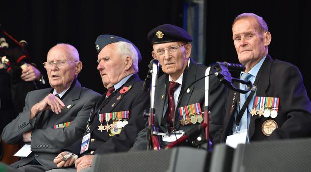 Military veterans at a Battle of Britain celebration at Newtownards Airfield on Saturday