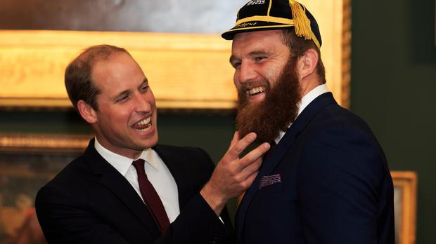 The Duke of Cambridge has a laugh with Welsh star Jake Ball during the welcome ceremony