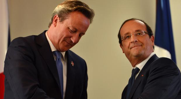 Prime Minister David Cameron is holding talks with French president Francois Hollande at Chequers