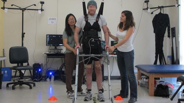 A man confined to a wheelchair five years ago who is able to walk again after scientists reconnected his brain and legs (BiomedCentral/PA)