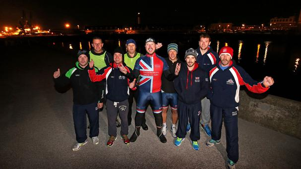 Help for Heroes Arch to Arc team Inspire celebrate after completing the cross-Channel swim from Dover to Calais