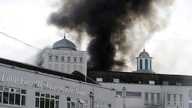 The fire broke out at the Baitul Futuh Mosque in Morden, south London, on Saturday
