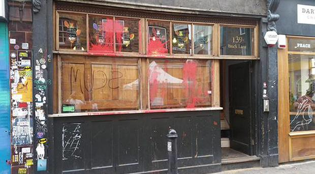 The Cereal Killer Cafe in east London, after anti-gentrification activists daubed the word