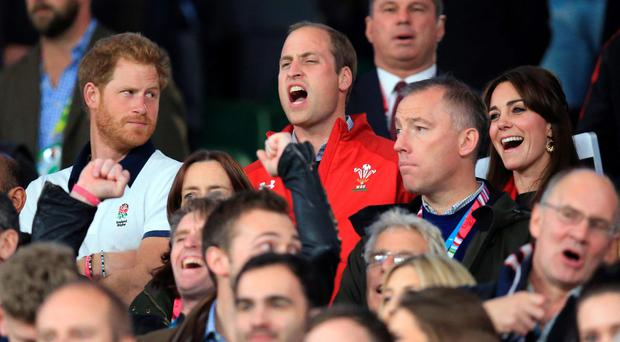 Prince Harry casts a disapproving look at his brother