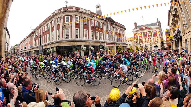 The 2014 Tour de France passes Betty's Tea Rooms in York