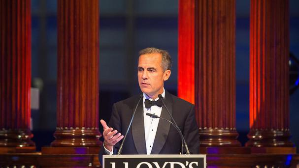 The Governor of the Bank of England Mark Carney speaks at a dinner at LLoyd's of London.