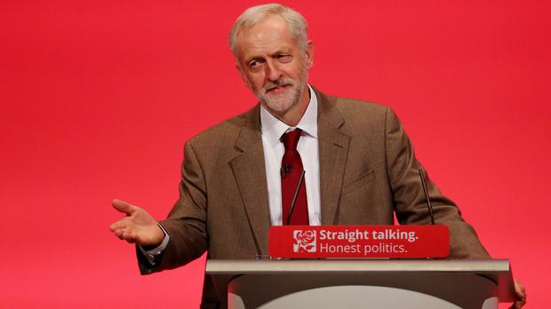 Jeremy Corbyn delivers his first speech as Labour Party leader at the conference in Brighton