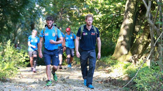Prince Harry joins Walking with the Wounded's Walk of Britain team during their trek to Ludlow in Shrophire