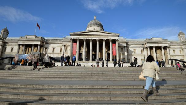 The main entrance of the National Gallery in London's Trafalgar Square