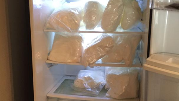 A freezer full of drugs discovered on Merseyside (Merseyside Police/PA)