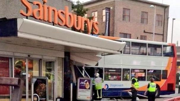Two died when the bus crashed into a Sainsbury's supermarket in Coventry (Pa/@Haroon_Mota)