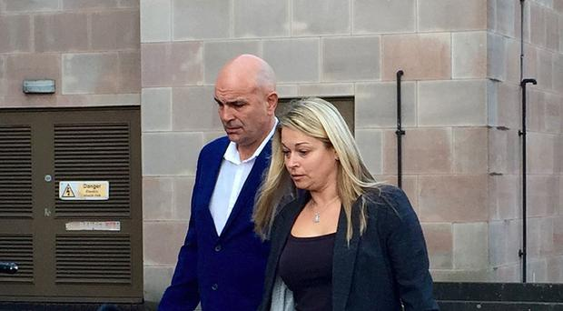 Victor Adcock and Nicola Adcock, parents of Jack Adcock, arriving at Nottingham Crown Court