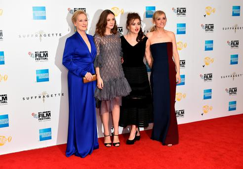 Meryl Streep, Carey Mulligan, Helena Bonham Carter and Anne Marie Duff at the Suffragette premiere in London last night