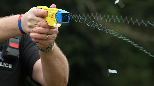 Two attempts to subdue the man with a Taser stun gun failed