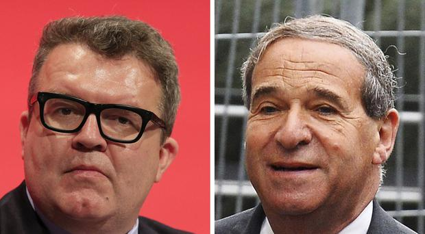 Labour deputy leader Tom Watson (left) and Leon Brittan, whose brother has said that Watson should apologise after police dropped a rape inquiry against the former home secretary.