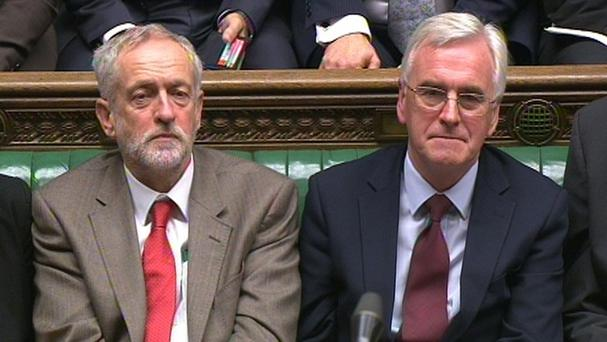 Labour leader Jeremy Corbyn and shadow chancellor John McDonnell during debate in the Commons on the Charter of Budget Responsibility