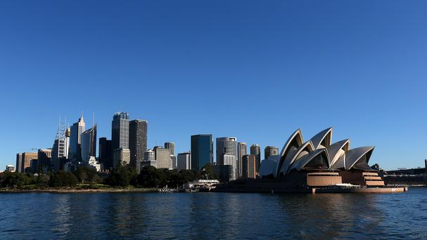 Sydney Opera House and the city skyline.